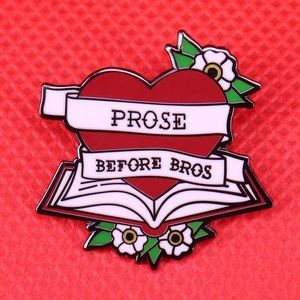 Jewelry - Prose Before Bros Enamel Book Heart Pin